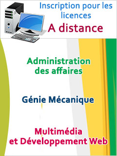 Inscription aux licences à distance