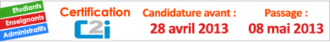 Candidature pour le passage de l'examen de Certification C2i - Session 2013