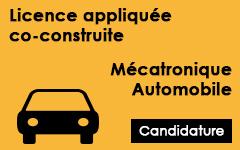 Candidature sur dossier pour la licence appliquée co-construite en Mécatronique Automobile COCOMA AU 2014/2015